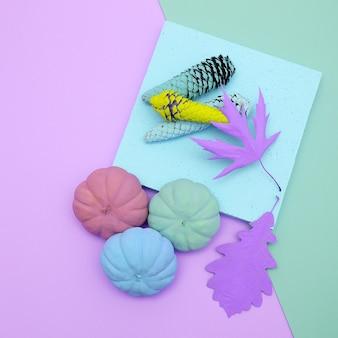 Composition artisanale d'automne peint créatif. conception à plat minimale