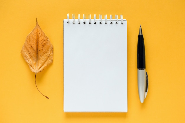 Composition d'automne. bloc-notes vide blanc, feuille d'orange séchée et stylo sur jaune.
