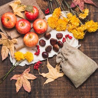 Composition d'automne coloré vue de dessus