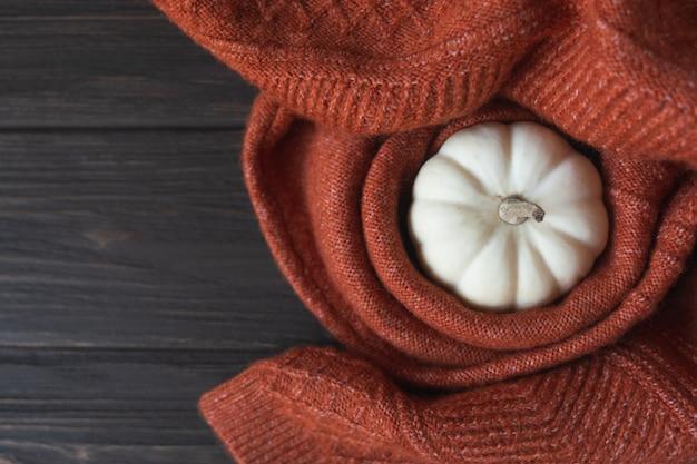 Composition d'automne avec couverture tricotée en laine et citrouille blanche. fond d'automne ou d'hiver confortable