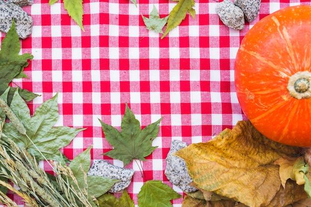 Composition d'automne avec des feuilles séchées sur la nappe à carreaux