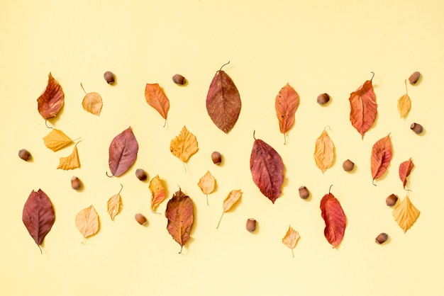 Composition d'automne. modèle fait de fond de feuilles d'automne doré. pose à plat, vue de dessus, surface