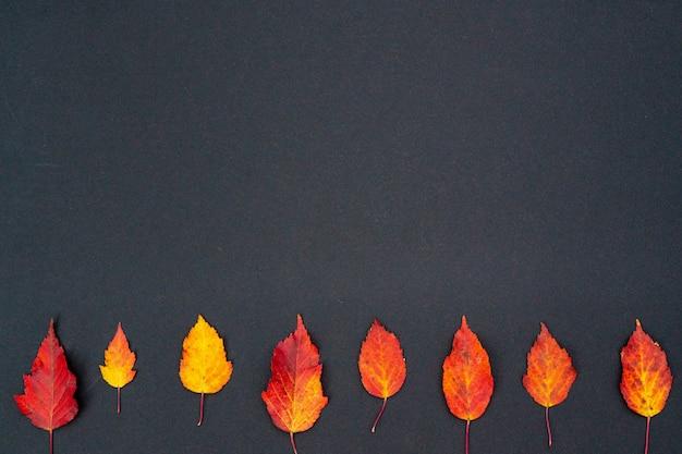 Composition d'automne, motif de feuilles sèches rouges et jaunes sur un gris tendre