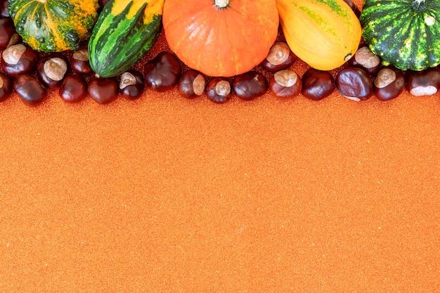 Composition d'automne à plat avec espace de copie de citrouilles décoratives et de châtaignes sur fond