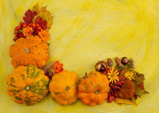 Composition d'automne thanksgiving ou halloween concept baies citrouille sur fond jaune copie espace