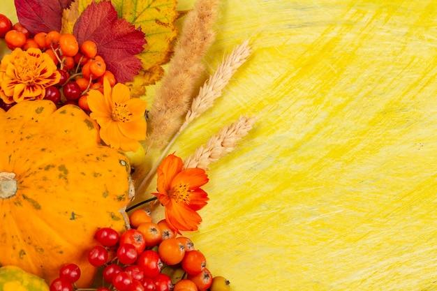 Composition d'automne thanksgiving ou halloween concept baies citrouille sur fond jaune plat poser...