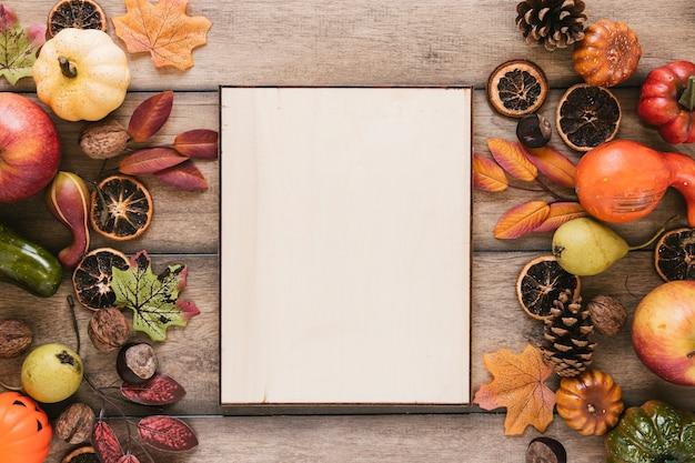Composition d'automne vue de dessus avec espace de copie