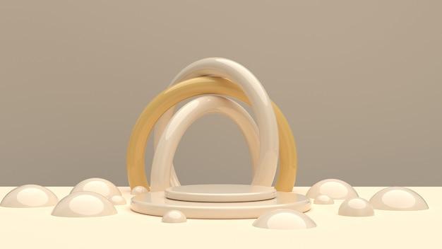Composition aux formes arrondies dans les tons champagne pour démonstration de produit