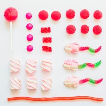 Composition de bonbons roses