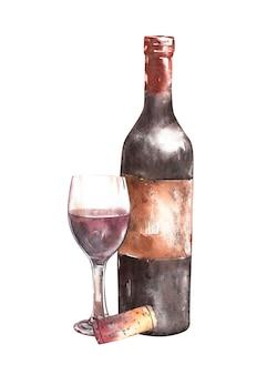 Composition avec bouteille de vin
