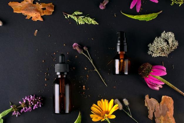 Composition avec des bouteilles en verre de produits cosmétiques biologiques de soins du corps avec une véritable écorce d'arbre