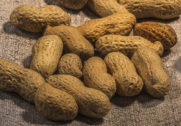 Composition de cacahuètes servant à faire de l'huile, beurre de cacahuète. idéal pour une alimentation saine et diététique. concept de: condiments, fruits secs