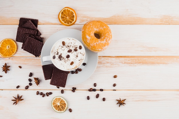 Composition de café avec petit-déjeuner