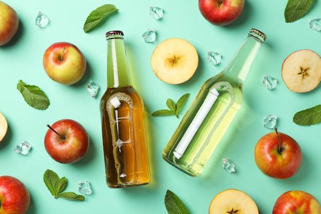 Composition avec cidre, pommes et glace à la menthe