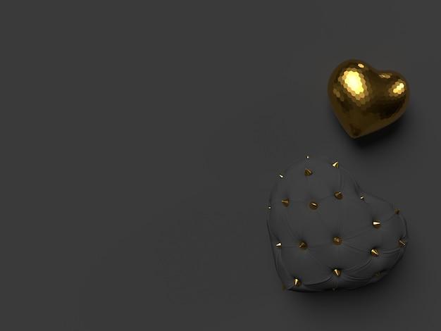 Composition de coeurs noirs et dorés