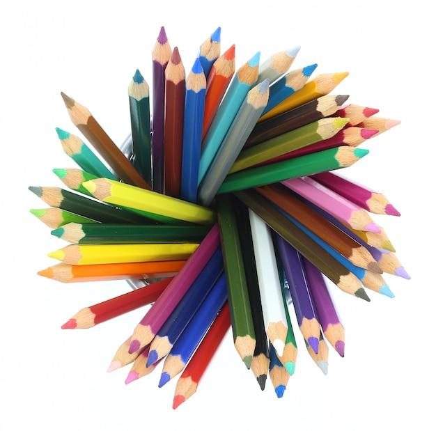 Composition de crayons colorés