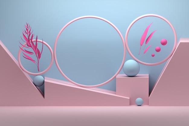 Composition créative avec anneaux, sphères et branches de plantes