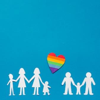 Composition créative pour le concept de famille lgbt avec espace copie