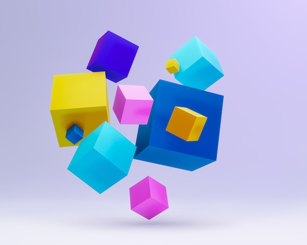 Composition avec cube 3d