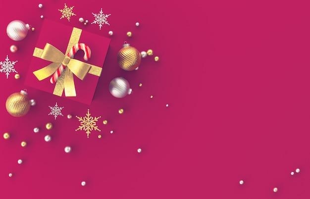 Composition de décoration 3d de noël avec des cadeaux, boule de noël, flocon de neige sur fond rouge. noël, hiver, nouvel an. mise à plat, vue de dessus, fond.