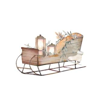 Composition décorative isolée confortable: traîneau avec des lanternes à bougie, patins à glace, branche d'eucalyptus sur fond blanc. icône mignonne dessinée à la main.