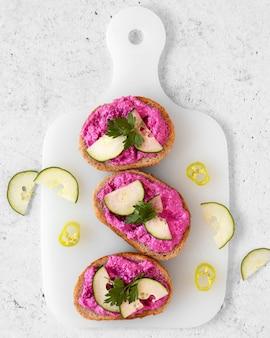 Composition de délicieux sandwichs à plat
