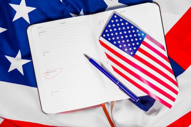 Composition du jour de l'indépendance avec planificateur hebdomadaire