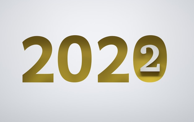 Composition du nouvel an avec de grands nombres jaunes gras 2022 sur fond blanc