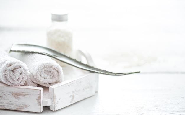 Composition du spa avec des produits de soins corporels et de la feuille d'aloe vera