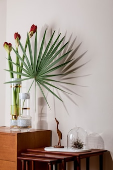 Composition élégante et florale de belles fleurs dans des vases modernes sur la commode rétro en bois avec des accessoires élégants. concept de fleur avec des ombres sur le mur beige. conception d'intérieur. modèle.