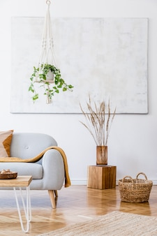 Composition élégante d'un intérieur d'appartement spacieux et créatif avec canapé gris, table basse, plantes, oreillers, tapis et beaux accessoires. murs blancs et parquet au sol.