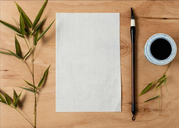Composition d'encre de chine avec carte vide