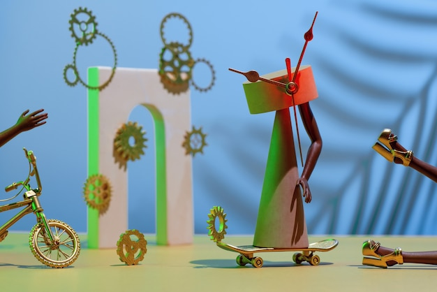 Composition des engrenages, figures, arches, jambes et mains, vélo et planche à roulettes, concept de manque de temps, délai.