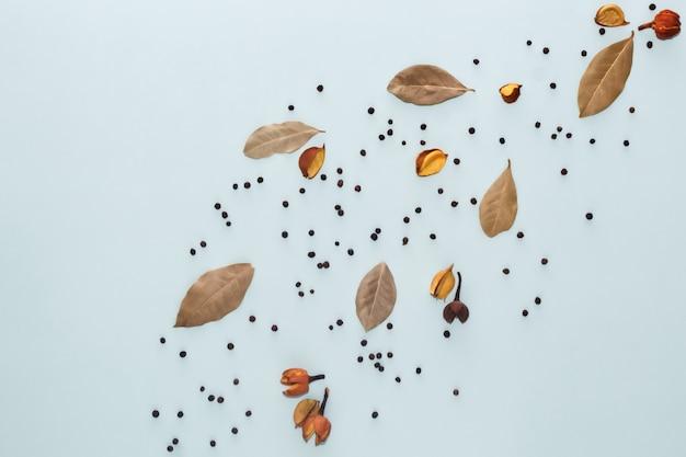 Composition d'épices. décorations de feuilles de laurier et de poivre sur fond bleu. mise à plat, vue de dessus, espace copie.