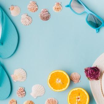 Composition d'été avec des objets de plage