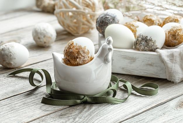 Composition Festive Pour Les Vacances De Pâques Avec Des Plantes Et Des œufs. Concept De Décoration De Pâques. Photo gratuit