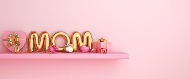Composition de la fête des mères heureuse avec ballon et boîte-cadeau
