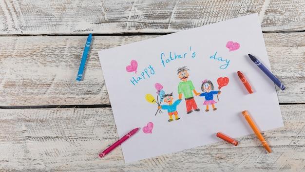 Composition de la fête des pères avec dessin