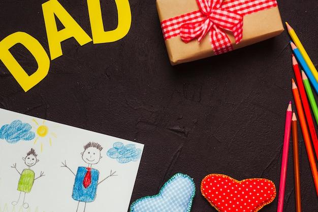 Composition de fête des pères avec des enfants dessin