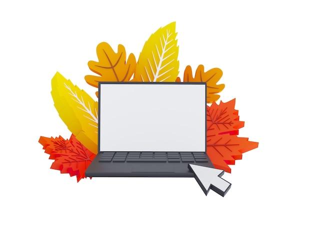 Composition des feuilles d'automne d illustration automne bannière ordinateur sur fond avec papier automne l...