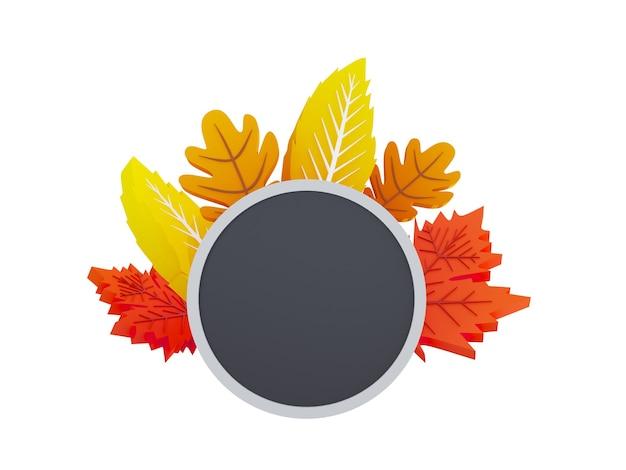 Composition de feuilles d'automne d illustration automne cercle bannière sur fond avec papier automne lea...