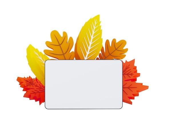 Composition de feuilles d'automne d illustration automne rectangle bannière sur fond avec papier automne ...