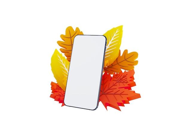 Composition des feuilles d'automne d illustration automne rectangle bannière ordinateur sur fond avec papier...