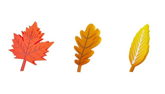Composition des feuilles d'automne d illustration définie des feuilles d'automne jaune orange sur fond blanc