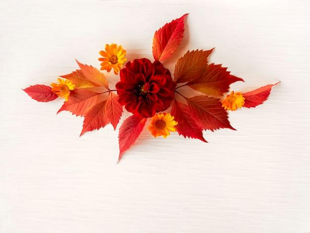 Composition de feuilles et de fleurs d'automne rouges sur fond blanc vieilli