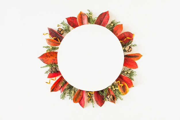 Composition de feuilles rondes d'automne