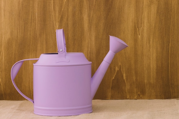 Composition de fleur avec arrosoir violet