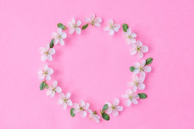 Composition de fleurs. guirlande de fleurs de pommier sur fond rose pastel.