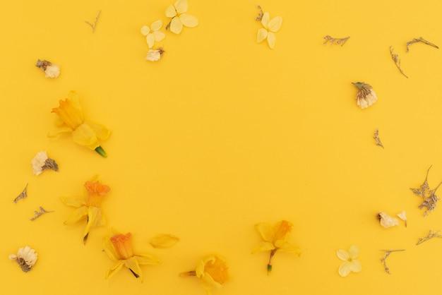 Composition de fleurs sur la vue de dessus de fond jaune