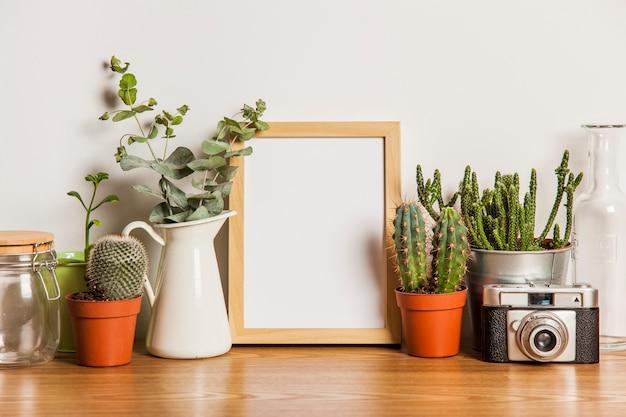 Composition florale avec cadre et beaucoup de plantes